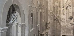 Laiptinės sienos tapyba Venecijos tema